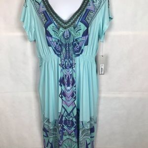 APT 9 NEW Dress Aqua Sz L beaded boho peasant NWT